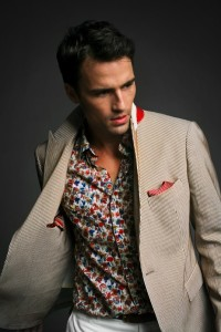 men's floral print and striped jacket