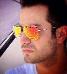 men's mirrored shades orange