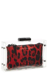 red clear animal print clutch