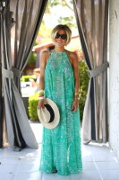 maxi dress and hat