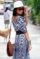 maxi dress with aztec print and white fedora