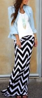 maxi skirt with chambray top and white tshirt