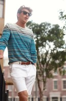 men's striped sweater and white shorts