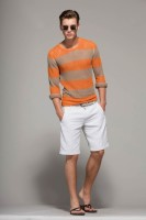 mens' striped sweater and white shorts