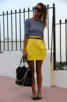 striped shirt and yellow skirt