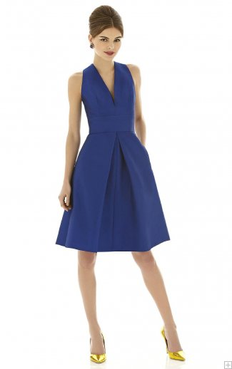 bridesmaid dress blue with deep v neck
