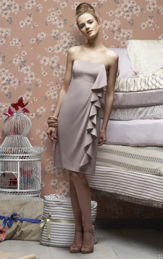 bridesmaid dress silver strapless with ruffle
