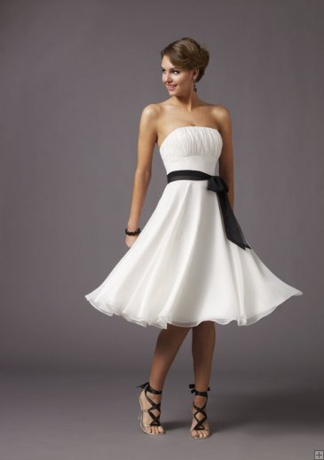 bridesmaid dress white chiffon short