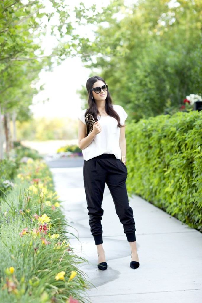 harem pants black with high heels
