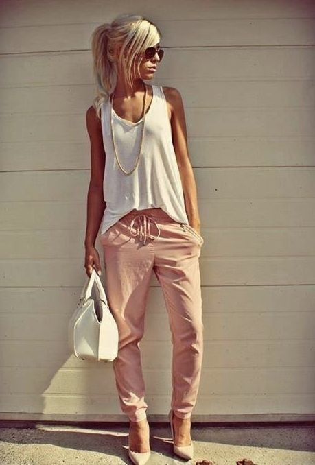 harem pants blush color