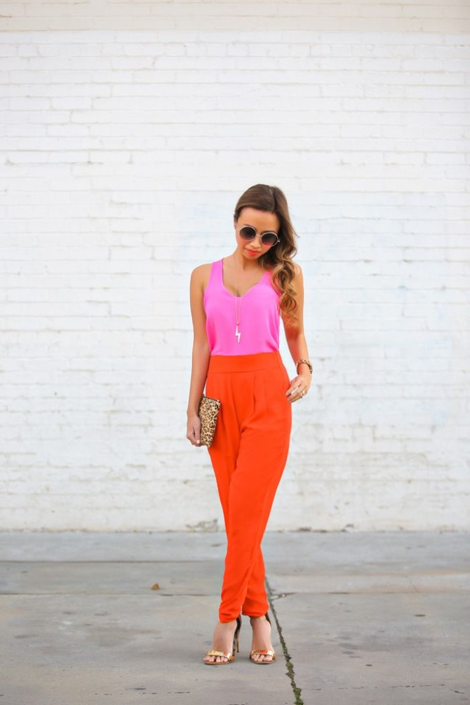 harem pants bright orange with pink top