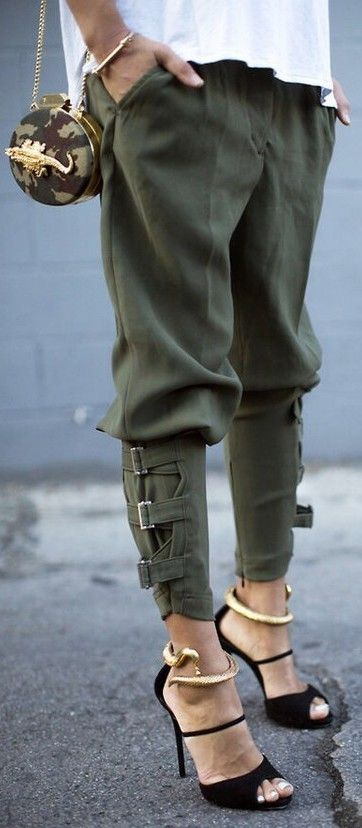 harem pants olive color with straps