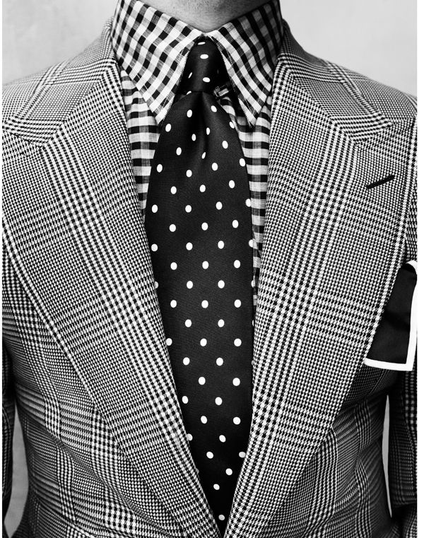 men's print blazer with checked shirt and polka dot tie