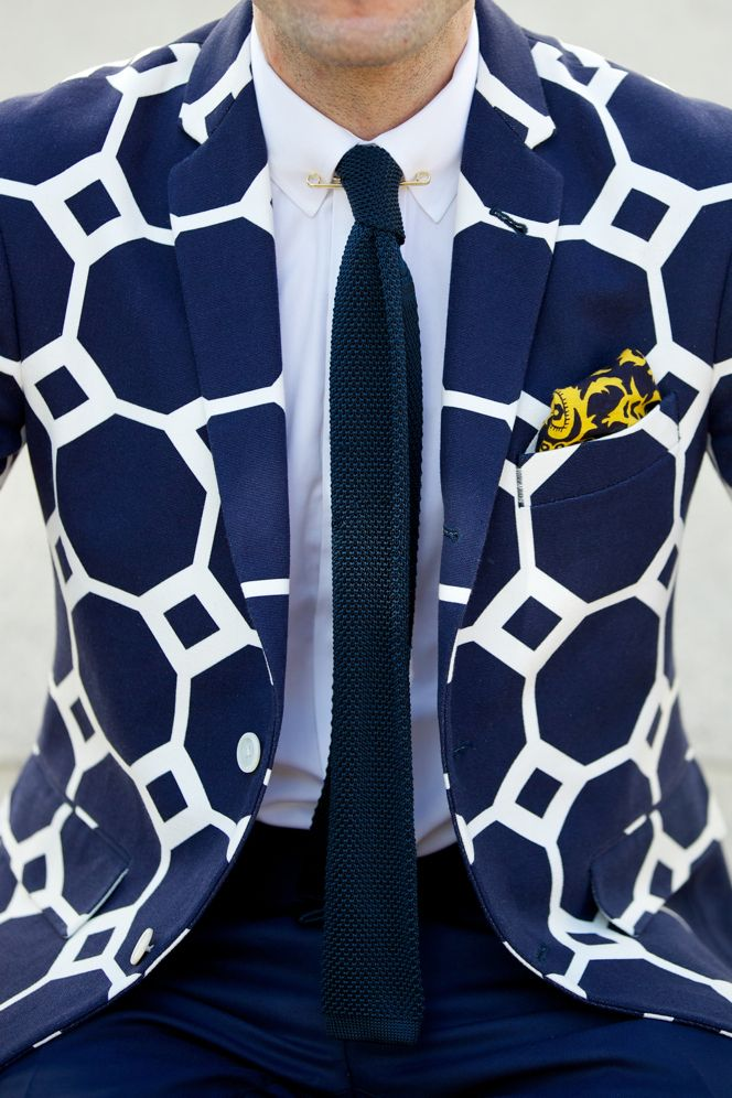 men's print suit jacket in blue