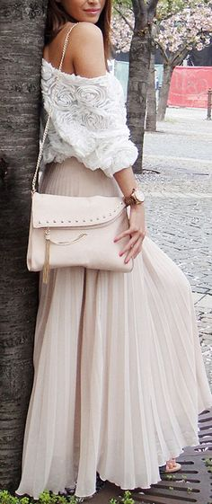 off the shoulder maxi skirt in chiffon