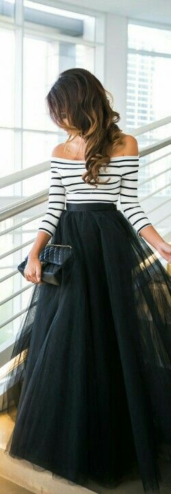 off the shoulder striped top with tulle skirt