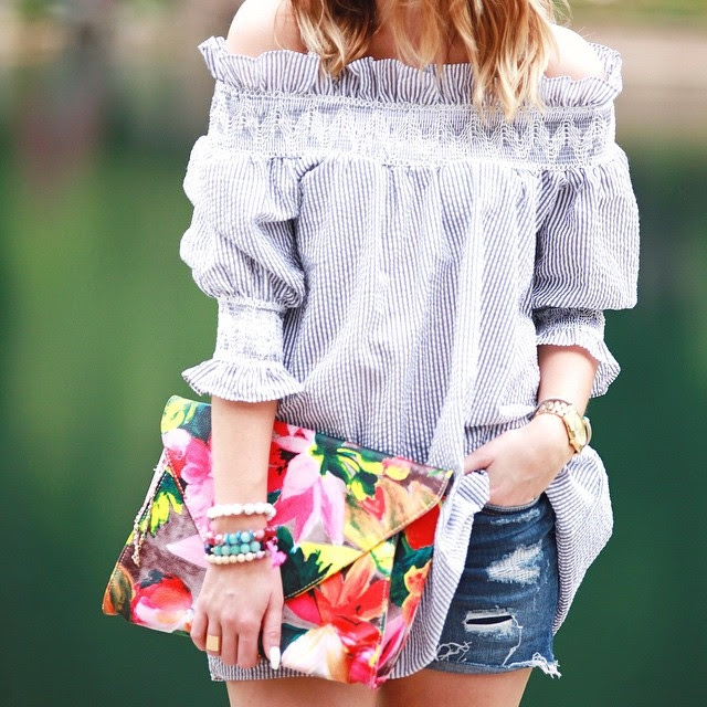 off the shoulder top with denim shorts