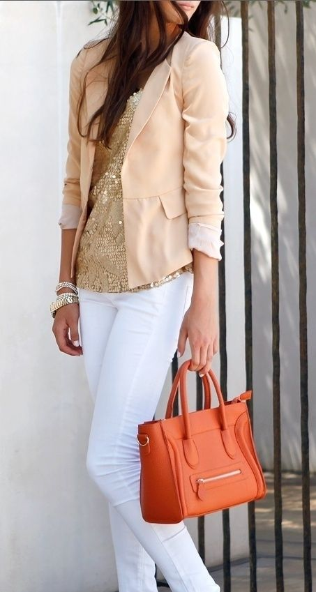 women's peach work outfit