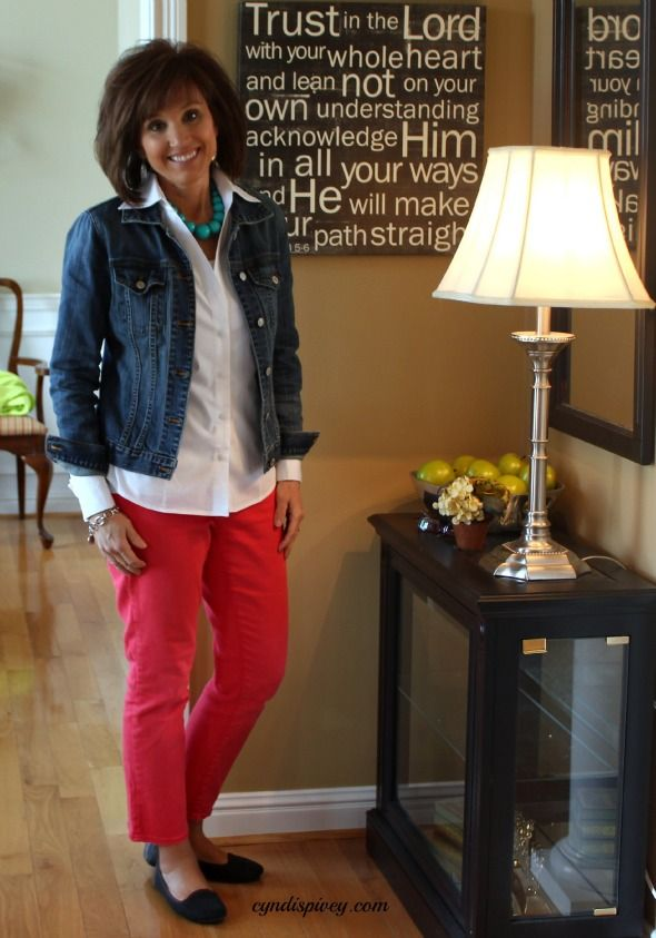 50 plus fashion red pants and denim jacket