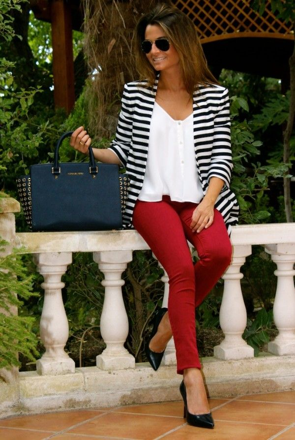 50 plus fashion striped jacket and red pants