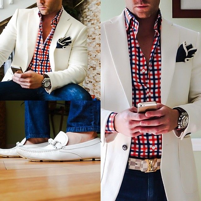 fourth of july men's dressy look plaid blue red and white shirt, white blazer, pocket square, denim and white loafers