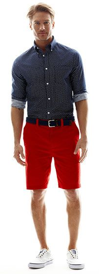 fourth of july men's red shorts and blue print shirt