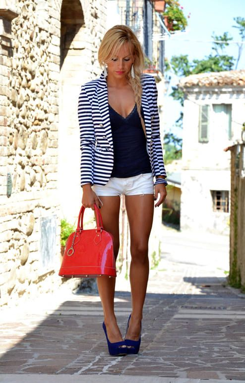 fourth of july women's look striped blazer, navy shirt, white shorts, red bag