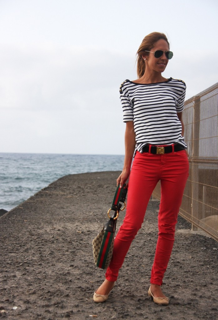 fourth of july women's red pants and striped top