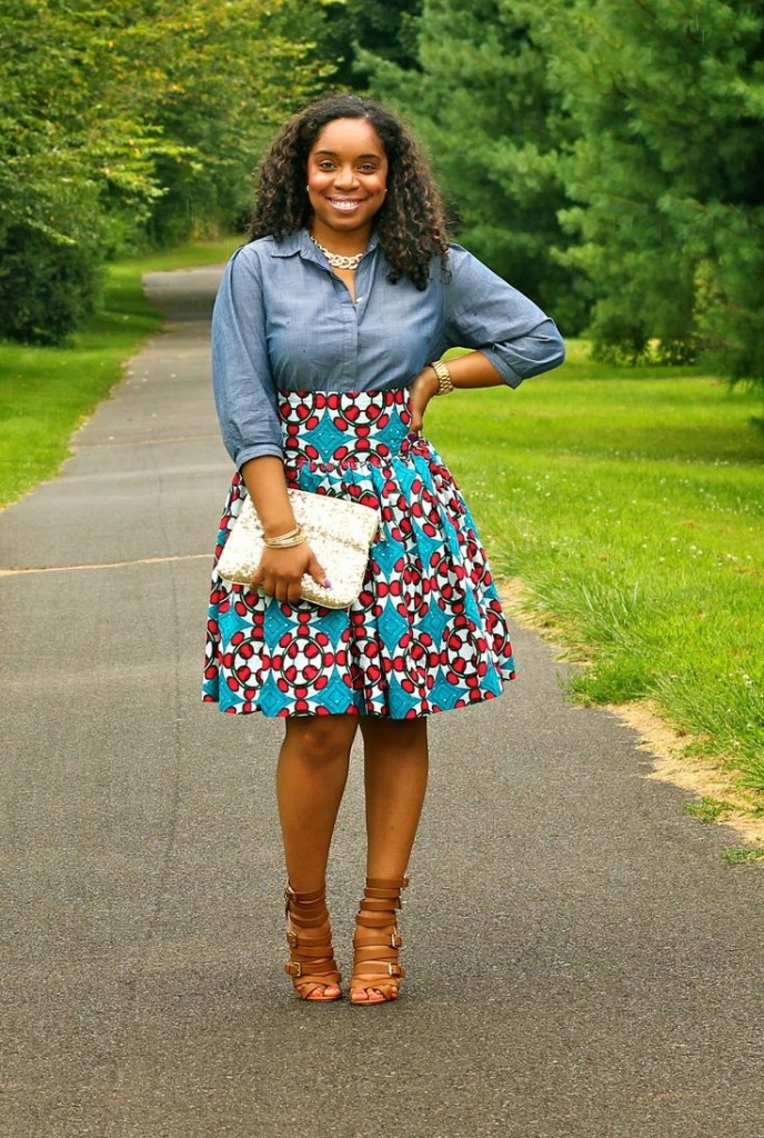 print knee length skirt with chambray top
