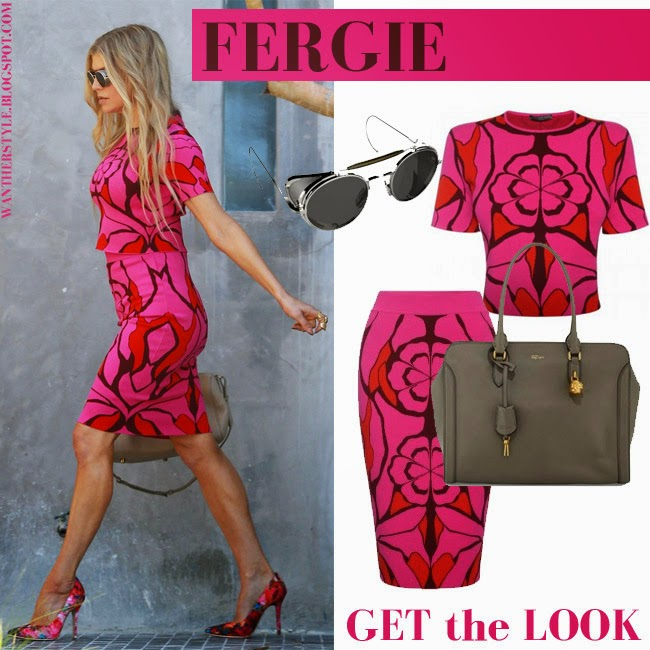 print pink skirt and matching top Fergie skirt by Alexander