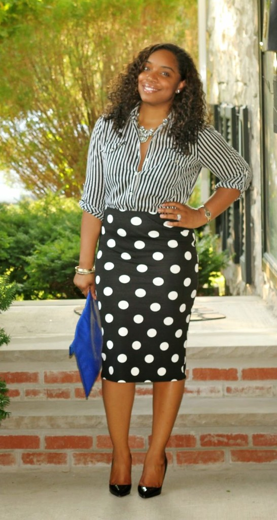 print polka dot skirt and striped skirt