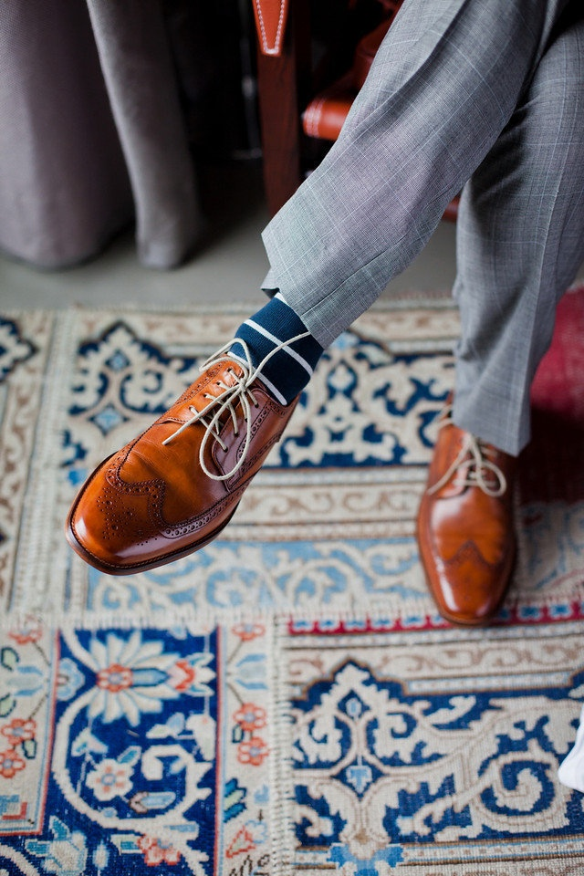 print socks with gray suit