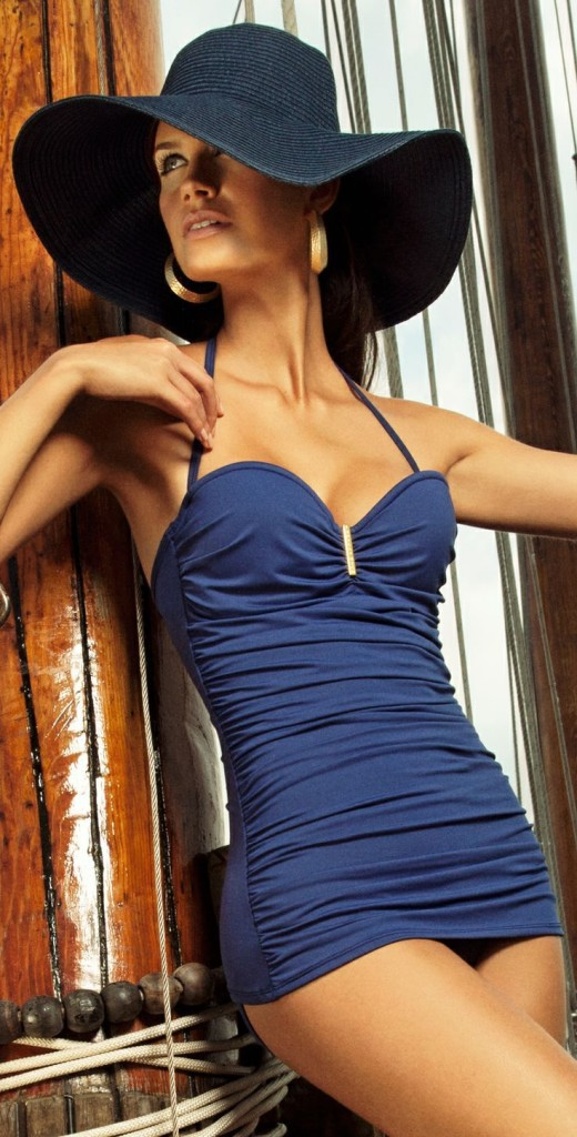 resortwear blue one piece with hat