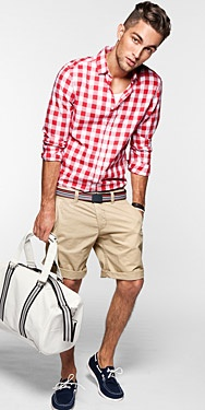 resortwear men's plaid shirt and shorts