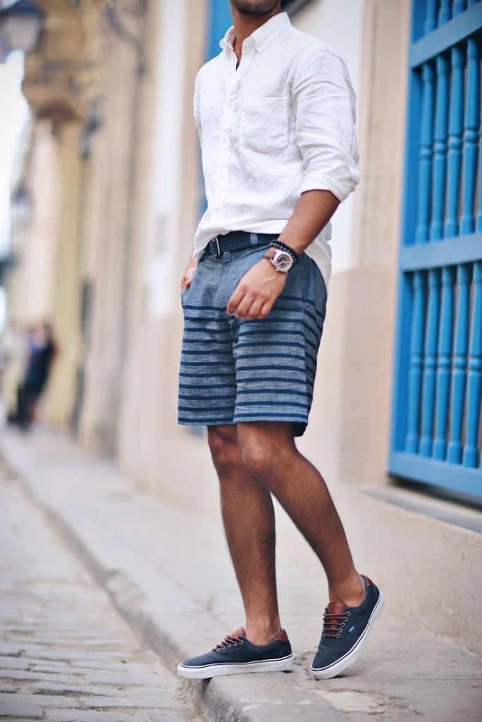 resortwear men's striped shorts look