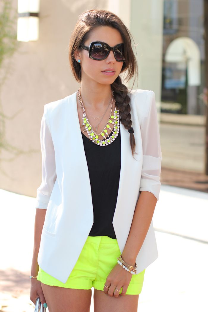summer jacket neon shorts with white jacket