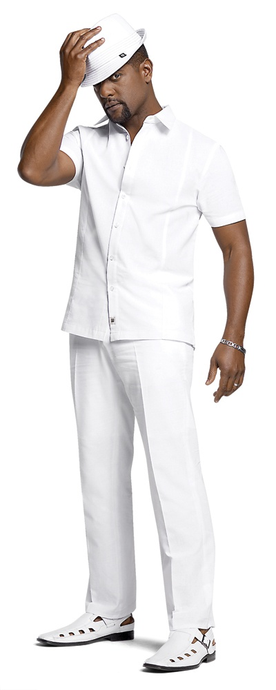 diner en blanc men's white outfit short sleeve fedora