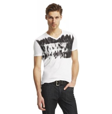 men's graphic tshirt white with black