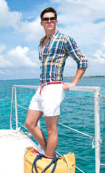 men's outfits daytime cool or boating plaid shirt