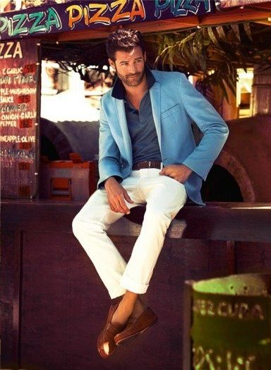 men's outfits daytime cool white pants and blue blazer