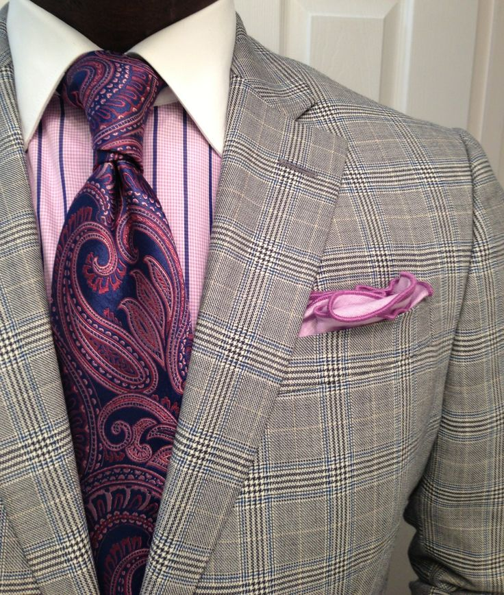 men's suit plaid with striped shirt