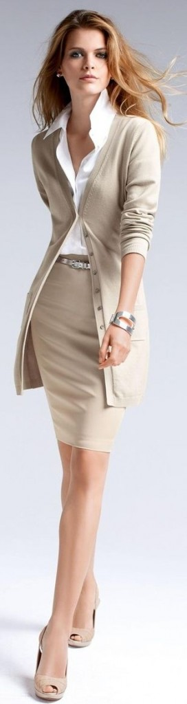 nude skirt and cardigan work outfit
