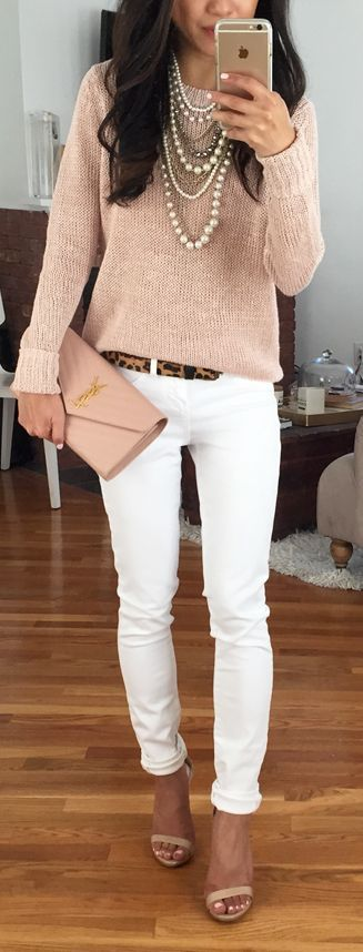 nude sweater and white denim
