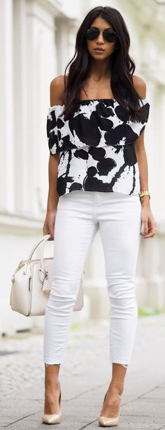 wardrobe essential black and white top with white denim