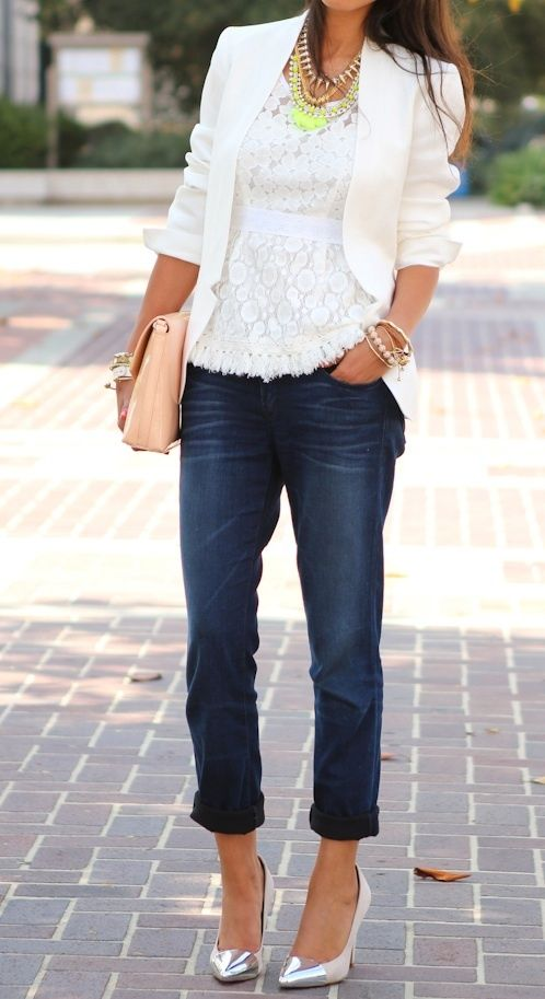 wardrobe essential dark denim and white lace