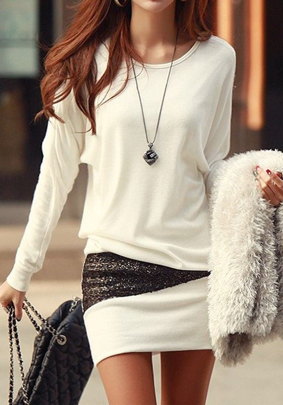 wardrobe essential long sleeve sequin dress