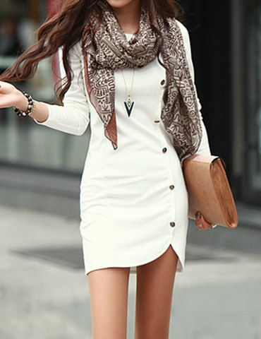 wardrobe essential long sleeve white dress