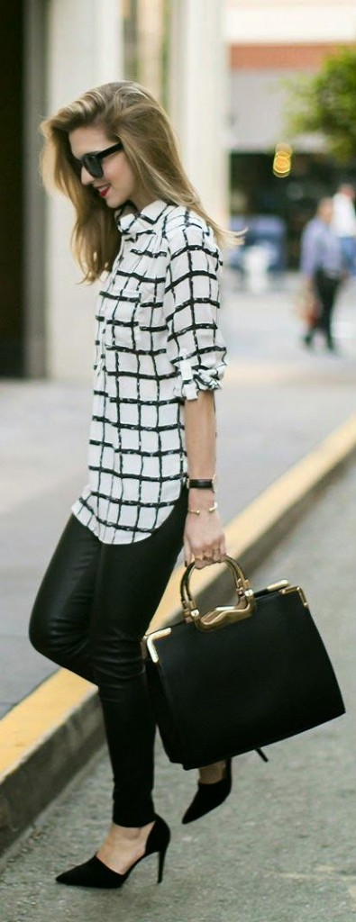 wardrobe essential print black and white blouse