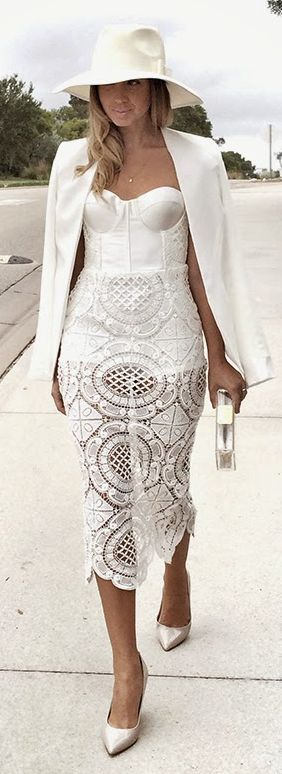 white lace bustier dress with jacket