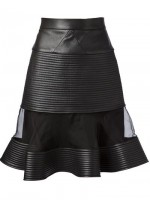 black leather sheer panel skirt